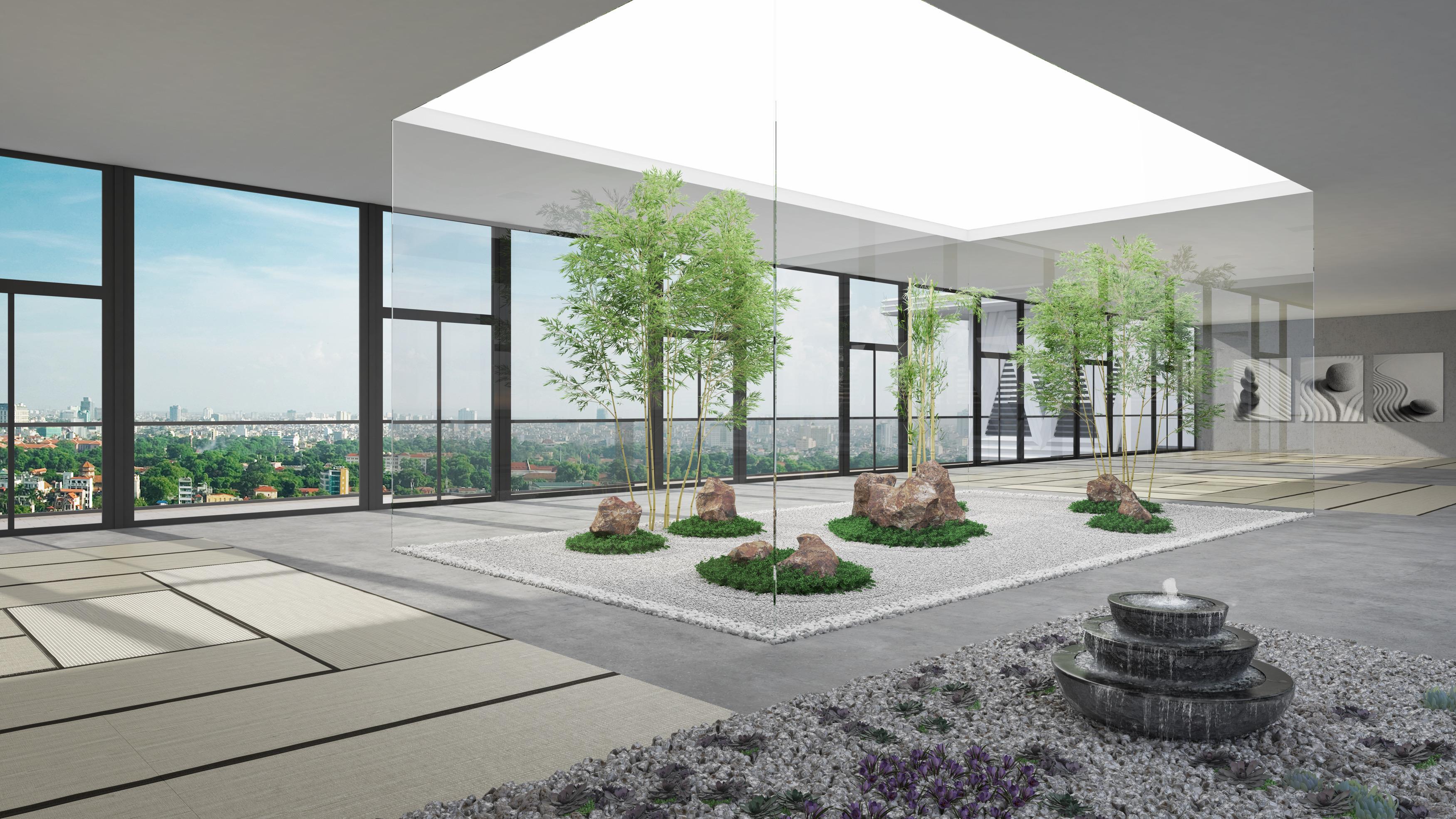Phòng Thiền được thiết kế rất gần gũi với thiên nhiên tại The Zei