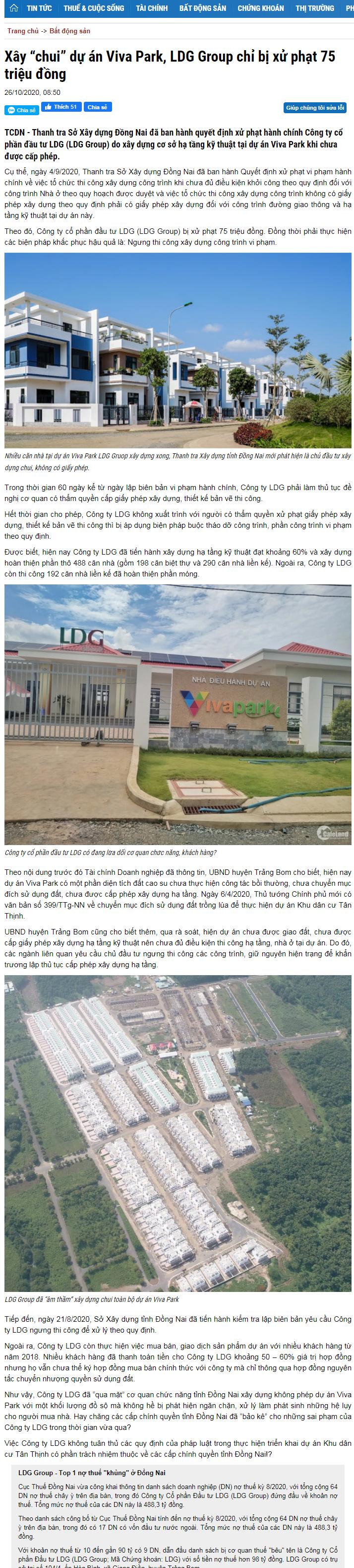 """LDG Group: Xây """"chui"""" gần 600 căn nhà từ năm 2018 nhưng đến 2020 mới bị xử phạt - Ảnh 1"""