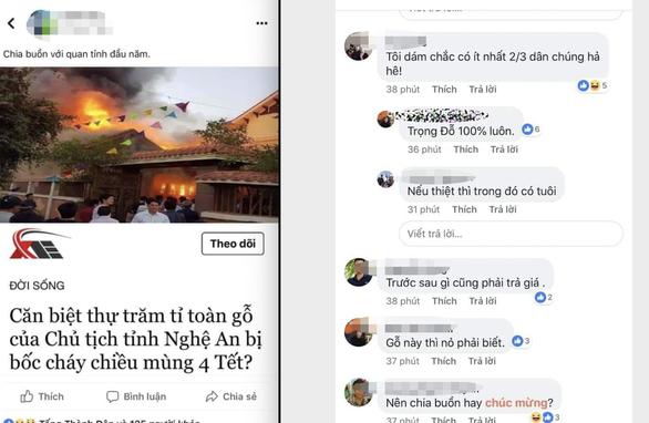 Thông tin đăng tải trên mạng xã hội về căn biệt thự toàn gỗ của Chủ tịch tỉnh Nghệ An là không chính xác - Ảnh: D.HÒA chụp màn hình