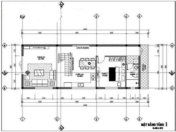 Không gian được chia thành 2 phần với phần diện tích tầng trệt có 3 phòng chức năng chính là phòng khách, phòng ăn và phòng ngủ master. Ngoài ra, phần gác lửng sẽ được tận dụng là một phòng ngủ.