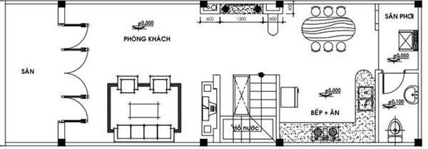 Đây là mẫu nhà phù hợp với gia đình ít người khi chỉ có 1 phòng ngủ, 1 phòng khách, 1 phòng bếp và khu sân phơi.