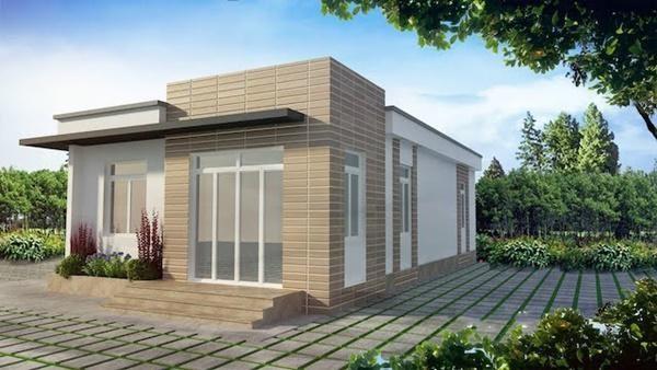 Mẫu số 10: Mẫu nhà mái bằng với chiều sâu dài được thiết kết với 3 phòng ngủ theo phong cách hiện đại cũng đang làm mưa làm gió trong giới kiến trúc.