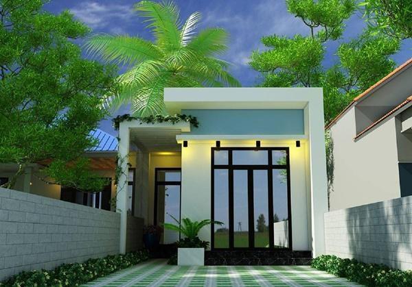 Mẫu số 11:Nhà mái bằng với hành lang bên sườn kết hợp cửa kình vô cùng sang trọng. Dù diện tích nhỏ nhưng mẫu nhà này vẫn đảm bảo đầy đủ các công năng sử dụng.