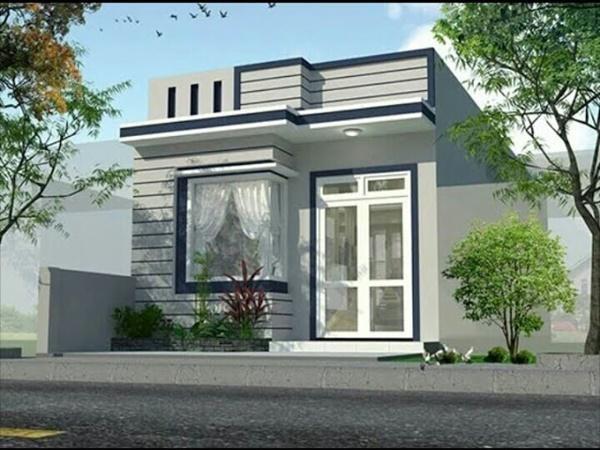 Mẫu số 3: Nhà cấp 4 mái bằng phù hợp với diện tích đất nhỏ và chi phí xây dựng cực thấp, chỉ dưới 400 triệu. Nhờ sử dụng tông màu xanh ghi và xanh navy khiến ngôi nhà trở nên sang trọng hơn.