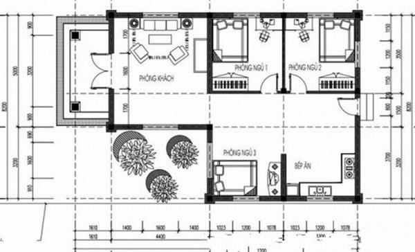 Đây là mẫu nhà cấp 4 với thiết kế 3 phòng ngủ, 1 phòng khách và 1 phòng ăn vô cùng tiện lợi.