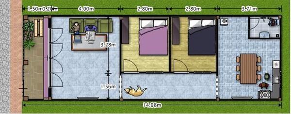 Dù diện tích nhỏ nhưng mẫu nhà này vẫn được thiết kế với 2 phòng ngủ, 1 phòng khách và 1 phòng bếp kết hợp nhà vệ sinh nên vẫn đảm bảo sự tiện lợi cho gia chủ.