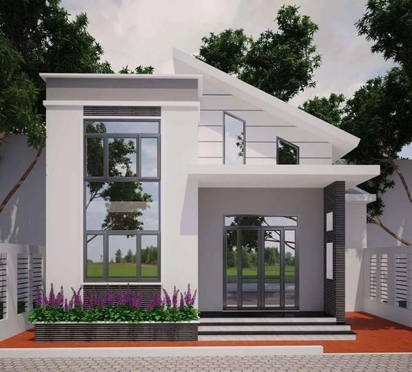 Mẫu số 14:Nhà mái bằng kết hợp với mái chéo. Đây là mẫu nhà có kiến trúc độc đáo khi kết hợp 2 loại hình mái bằng và mái chéo tạo ấn tượng cho người nhìn.
