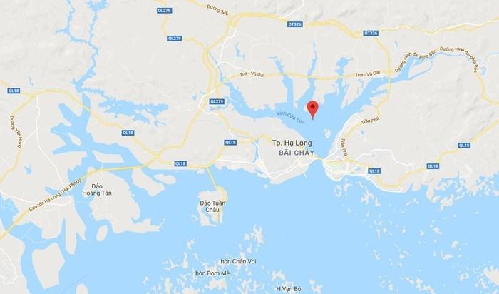 Dự án hầm đường bộ dự kiến được thi công tại eo vịnh Cửa Lục, TP Hạ Long, tỉnh Quảng Ninh (điểm màu đỏ). Ảnh: Google Maps.
