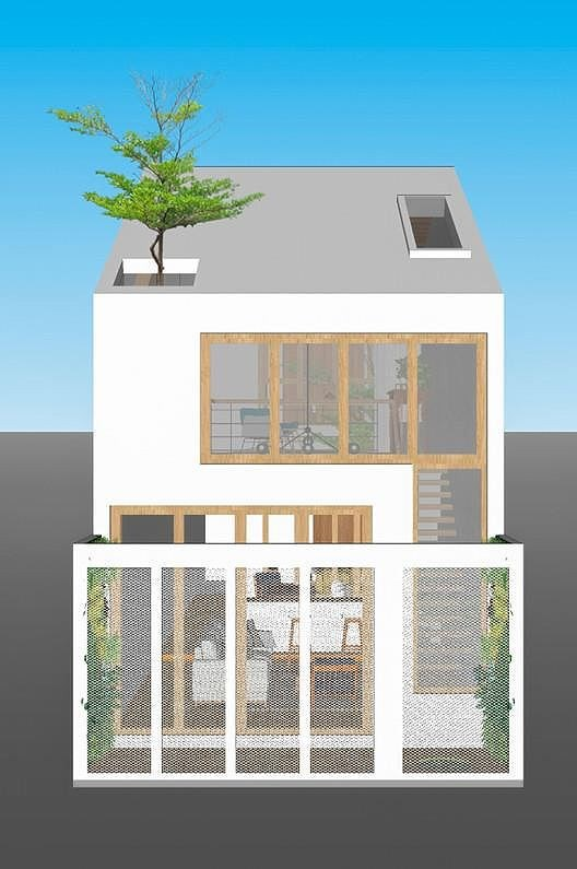 Ở Việt Nam, các khu dân cư thường được chia thành các ô đất 5mx20m, vì vậy rất ít người chịu san sẻ không gian của mình cho cây xanh nhưng ngôi nhà ở Đà Nẵng này thì khác. Thiết kế nhà tuy đơn giản nhưng lại ngập tràn ánh sáng và cây xanh.