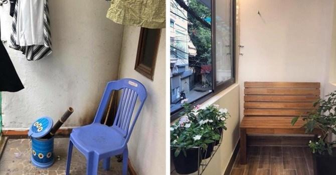 Ban công được bố trí thêm ghế và các mảng xanh - ảnh Hương Trang