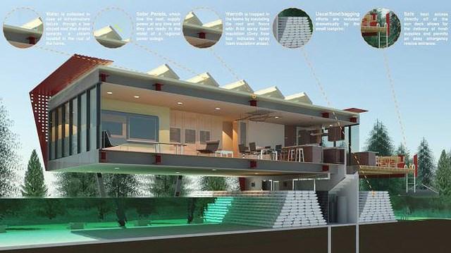 The Flood House. The Flood House được xây dựng nâng cao để chống lũ lụt và hỏa hoạn, các bức tường kim loại sẽ ngăn chặn các mảnh vỡ. Trong một thảm họa, các tấm pin mặt trời trên mái nhà sẽ giúp cung cấp năng lượng và sàn sau sẽ trở thành một bến thuyền để vận chuyển hàng hóa.