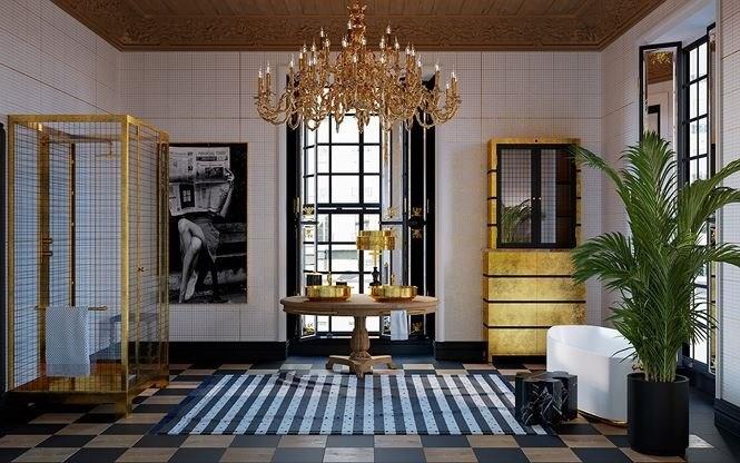 Phòng tắm được trang trí đẹp mắt với hai chiếc bàn cẩm thạch, bàn gỗ chạm khắc cầu kỳ và nổi bật nhất là bồn tắm vàng.