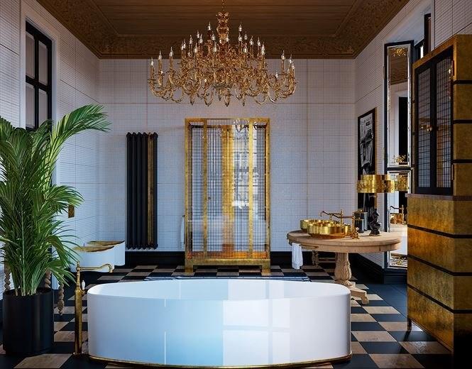 Những vòi nước mạ vàng sáng choang trên nền tường trắng của căn phòng