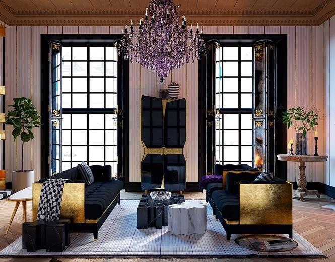 Trong phòng khách, bàn uống nước với đá cẩm thạch đen, trắng nguyên khối được bao quanh bởi những mảnh vàng rực rỡ. Cửa tủ trong phòng khách được thiết kế với màu đen bóng để làm nổi bật lên những ánh kim của vàng.