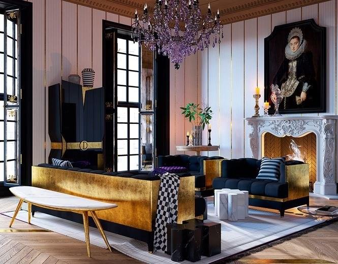 Đèn chùm pha lê với các giọt thủy tinh màu tím ấn tượng là điểm nhấn để bổ sung và làm nổi những món đồ trang trí bằng vàng.