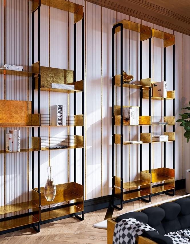 Tủ sách với vóc dáng thanh mảnh được đặt sát một bên tường của phòng khách.