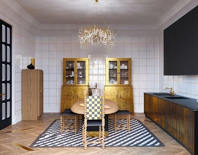 Một cặp tủ bếp song sinh đứng cạnh nhau để đựng đồ sứ và thủy tinh trong nhà bếp, tất nhiên hai chiếc tủ cũng được làm từ vàng.