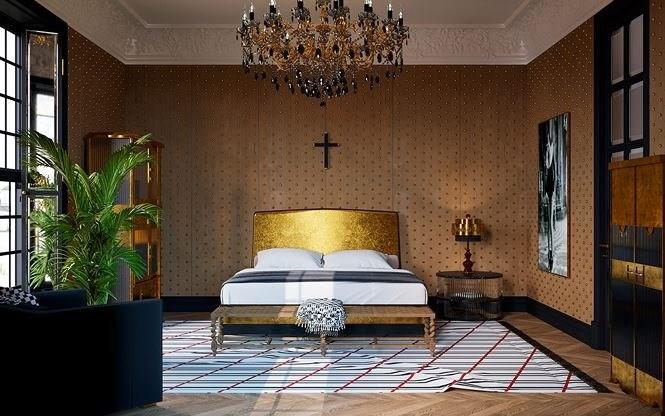 Trong phòng ngủ chính, đầu giường cũng được dát vàng giúp căn phòng rạng rỡ như ánh bình minh trên bầu trời.