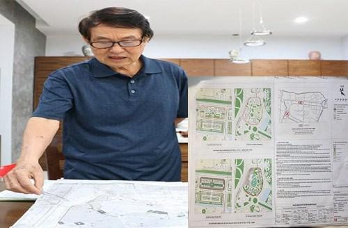 Ông Đỗ Đức Du (77 tuổi, trú tại 15T6 Khu đô thị Nam Thăng Long) đang chỉ ra những vô lý trong phương án điều chỉnh quy hoạch chi tiết 1/500 của chủ đầu tư.