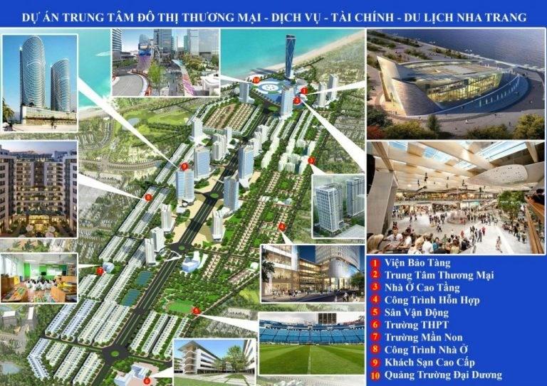 Phối cảnh Dự án Khu trung tâm đô thị dịch vụ – Tài chính – Du lịch Nha Trang do Công ty Cổ phần Tập đoàn Phúc Sơn làn chủ đầu tư tại khu đất sân bay Nha Trang cũ.
