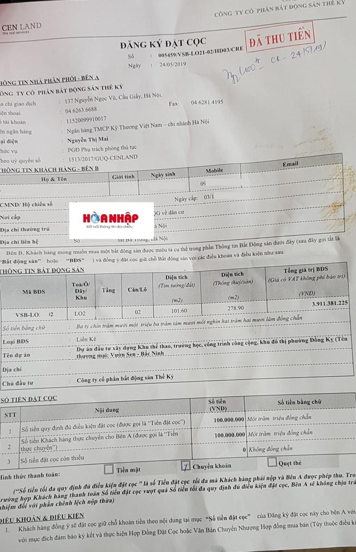 Khách hàng chuyển khoản đặt cọc mua nhà trên giấy do Cengroup đang rao bán