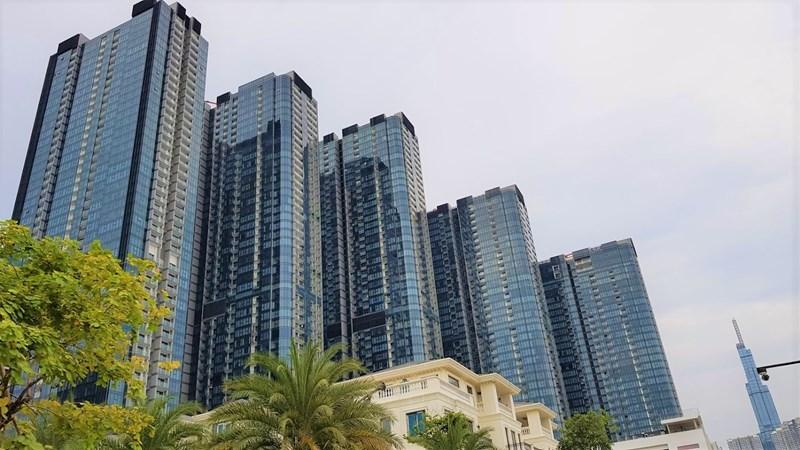 Dự án gồm 5 block cao tầng đã được hoàn thiện cùng 63 biệt thự ven sông.
