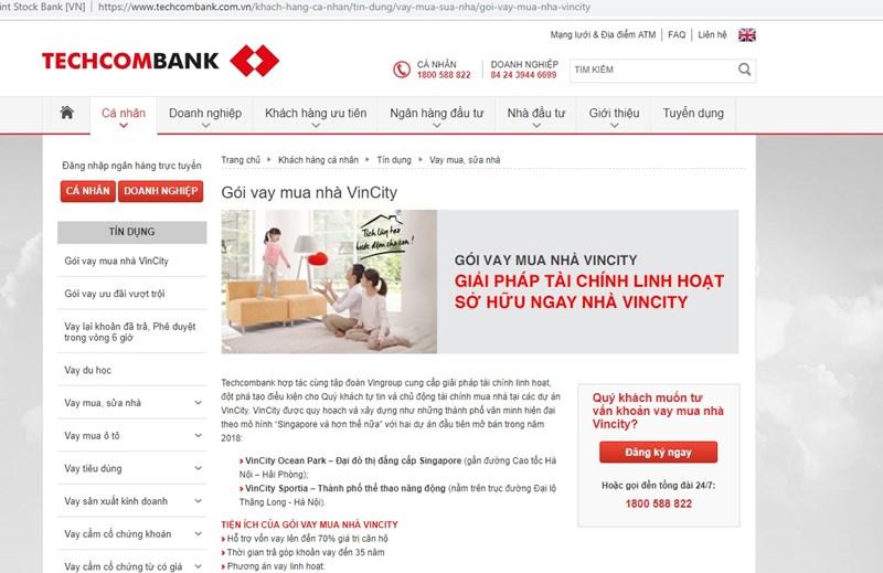 Website Teckcombank giới thiệu chương trình vay mua nhà theo hình thức trả góp Vincity