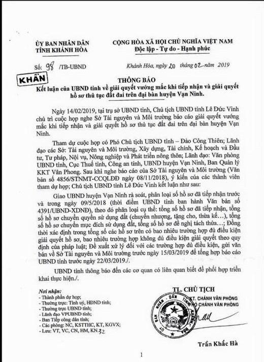 Thông báo kết luận của UBND Tỉnh Khánh Hòa v/ giải quyết vướng mắc hồ sơ thủ tục đất đai  trên địa bàn huyện Vạn Ninh
