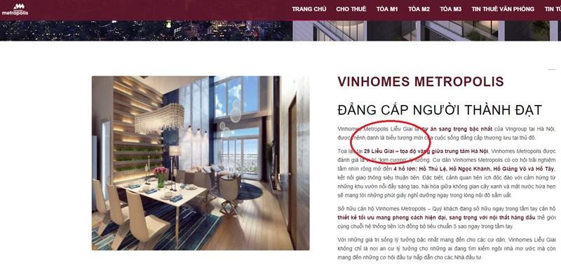 Trên một website quảng cáo dự án vẫn là số 29 Liễu Giai