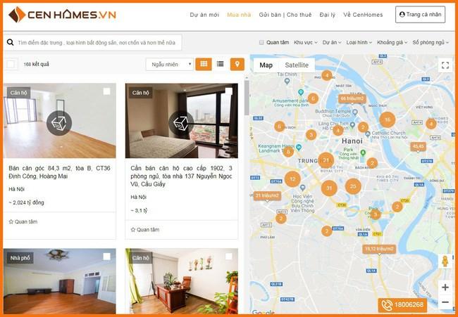 Giao diện dự kiến Cenhomes trên nền tảng web