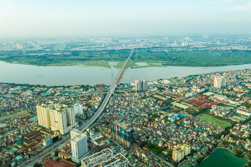 View từ căn hộ Times City ra phía sông hồng
