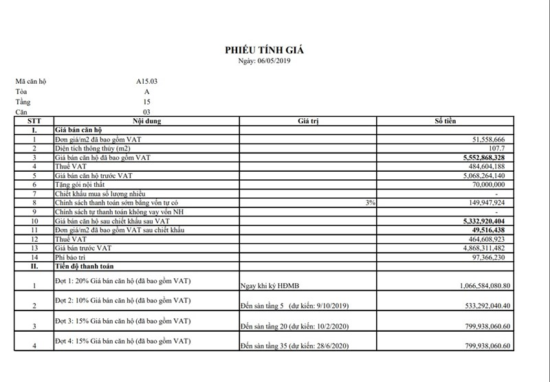 File là bảng tính giá cụ thể của 2 căn A1503 tính theo chính sách bán hàng cũ