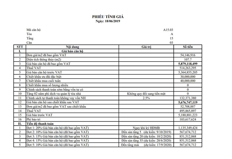 file là bảng tính giá cụ thể của 2 căn A1503 tính theo chính sách bán hàng mới