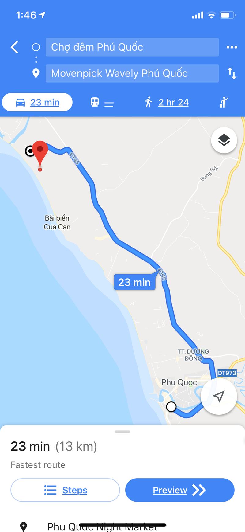 ~25 phút để đi đến trung tâm thị trấn Dương Đông.