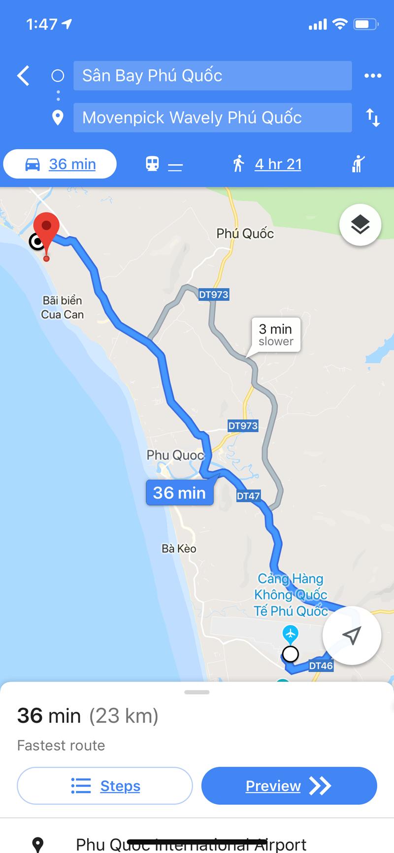 ~40 phút để đến sân bay Phú Quốc.