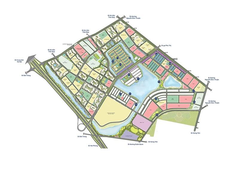 Các lô đất được tô hồng là các lô đất TMDV- Thương mại dịch vụ của Vin Group nằm rải rác, xen kẽ khắp nơi trong đại đô thị Vinhomes Ocean Park.