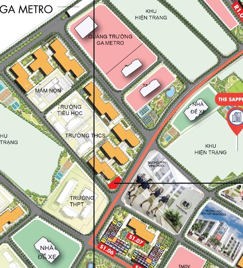 Khu R2 ngay cạnh quảng trường và ga metro, xung quanh nhiều trường học cả dân lập như Vinschools lẫn các trường công lập.