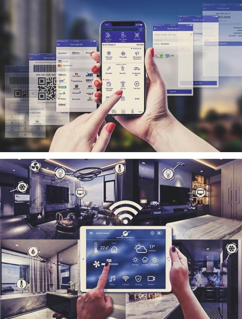 """Với hệ sinh thái """"Smart-living"""" được phát triển bởi Sunshine Group, người mua nhà có thể điều khiển, tương tác với chính ngôi nhà của mình qua apps Sunshine trên điện thoại thông minh."""