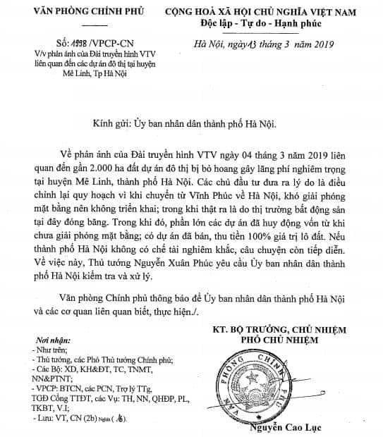 Vụ lãng phí 2000ha đất Mê Linh, Hà Nội: Thủ tướng yêu cầu kiểm tra, xử lý - Ảnh 1
