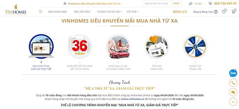 Nhiều chương trình khuyến mại áp dụng với khách hàng giao dịch tại Vinhomes Online