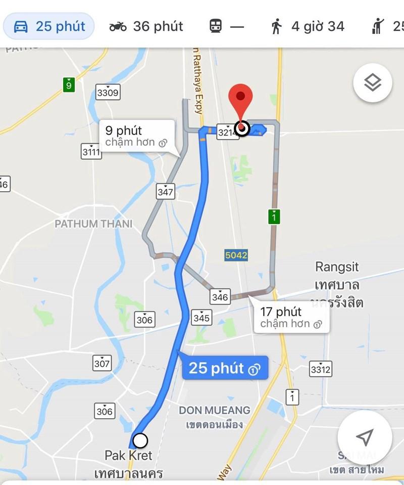 Vị trí của khách sạn Novotel Impact đến SVĐ Thammasat - nơi diễn ra trận đấu giữa Việt Nam và Lan mất khoảng 30 phút đi xe.