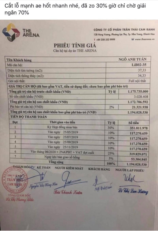 Một nguoimuanha đã nộp được 30% giá trị căn hộ mình mua và đang muốn bán cắt lỗ. ( theo khách hàng mua dự án The Arena).