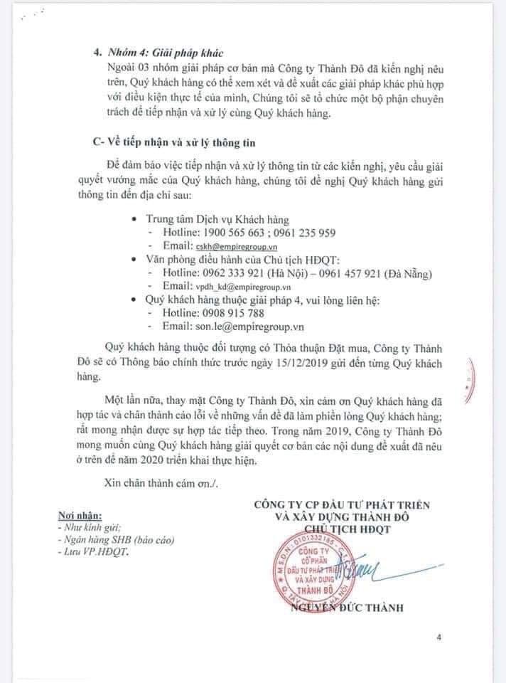 Văn bản thông báo của chủ đầu tư gửi đến người mua condotel tại Cocobay