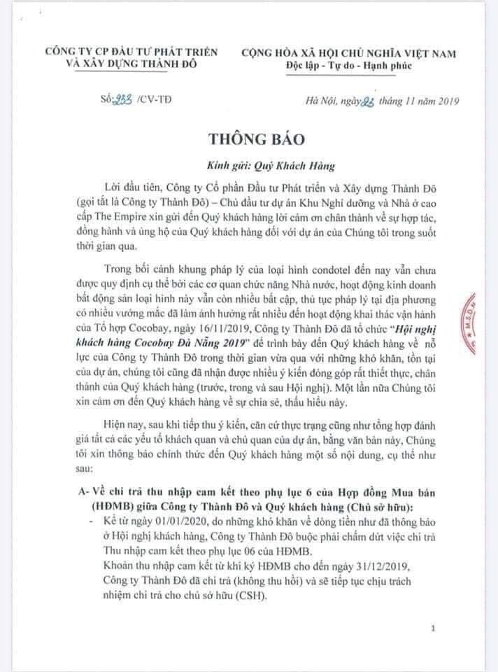 Empire Group thông báo tới khách hàng dự án Cocobay Đà Nẵng - Ảnh 1