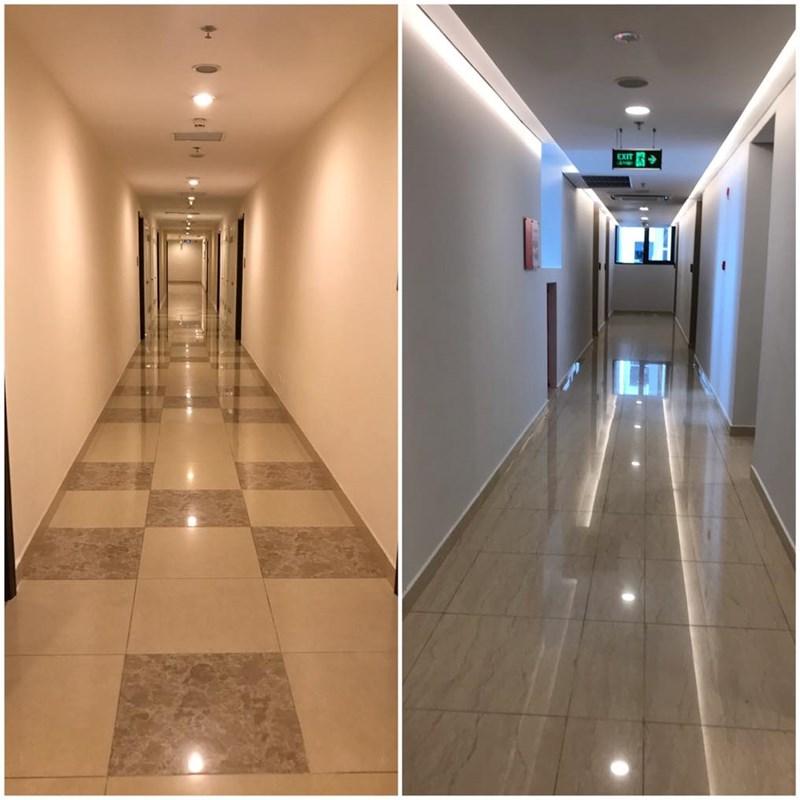 Hàng lang chung cư cao cấp tại Vinhomes Times City và Sun Grand City