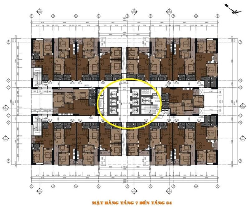 Sơ đồ thiết kế tầng 7 toà Phú Thịnh Green Park