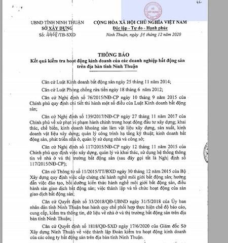 """Ninh Thuận: Công khai một loạt doanh nghiệp địa ốc """"né"""" thanh tra, vi phạm Luật Doanh nghiệp - Ảnh 1"""