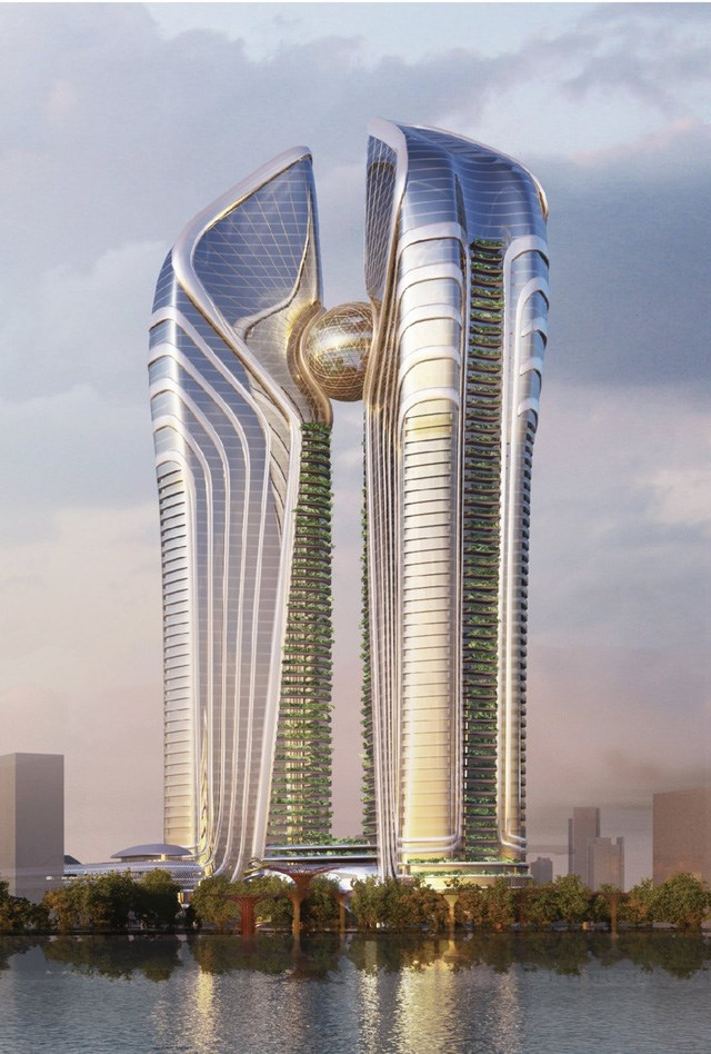 Phối cảnh mô hình tháp tài chính Đà Nẵng.