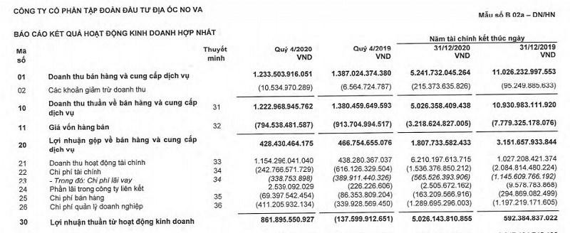Nguồn: BCTC hợp nhất quý IV/2020 của Novaland.