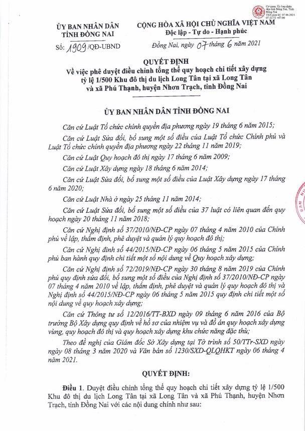 Quyết định phê duyệt điều chỉnh tổng thể quy hoạch chi tiết 1/500 dự án Khu đô thị du lịch Long Tân. Nguồn: UBND tỉnh Đồng Nai